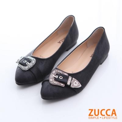 ZUCCA-華麗金屬圖紋尖頭平底鞋-黑-z6519bk