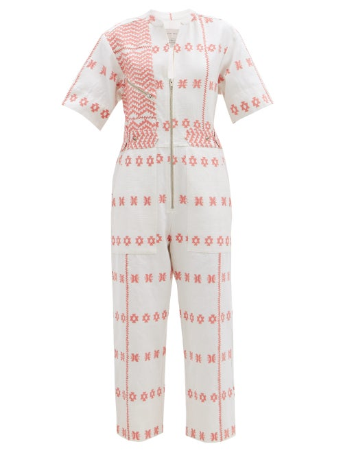 Pippa Holt - Embroidered Striped Cotton Jumpsuit - Womens - Pink Print