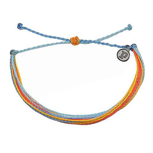 Pura Vida 美國手工 水藍橘色系臘線可調式手鍊衝浪海灘防水手繩