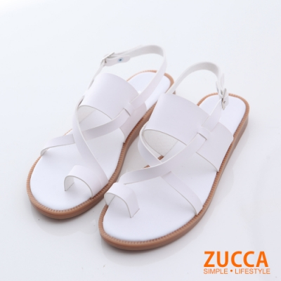 ZUCCA-皮革環交錯繞趾涼鞋-白-z6602we