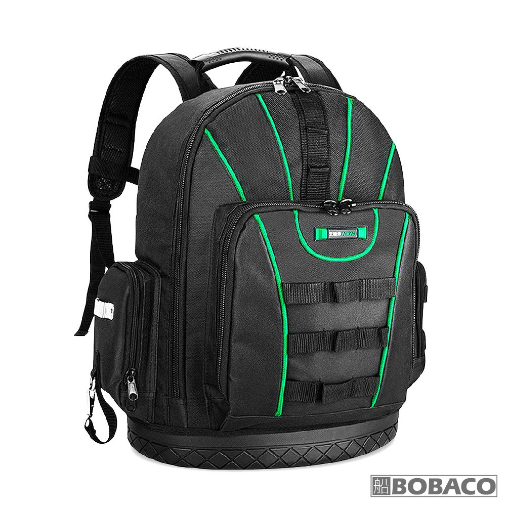 【工具收納後背包(黑綠)】工具收納包 工具袋 收納工具後背包 帆布工作包 後背工具包 電工