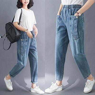 牛仔褲~破洞牛仔褲~垮褲~蘿蔔褲~背帶褲寬松直筒闊腿褲女高腰垂感牛仔褲6865.G369B衣時尚