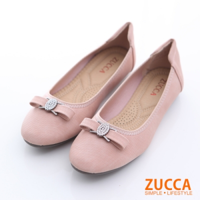 ZUCCA-圓頭金屬朵結氣墊平底鞋-粉-z6512pk