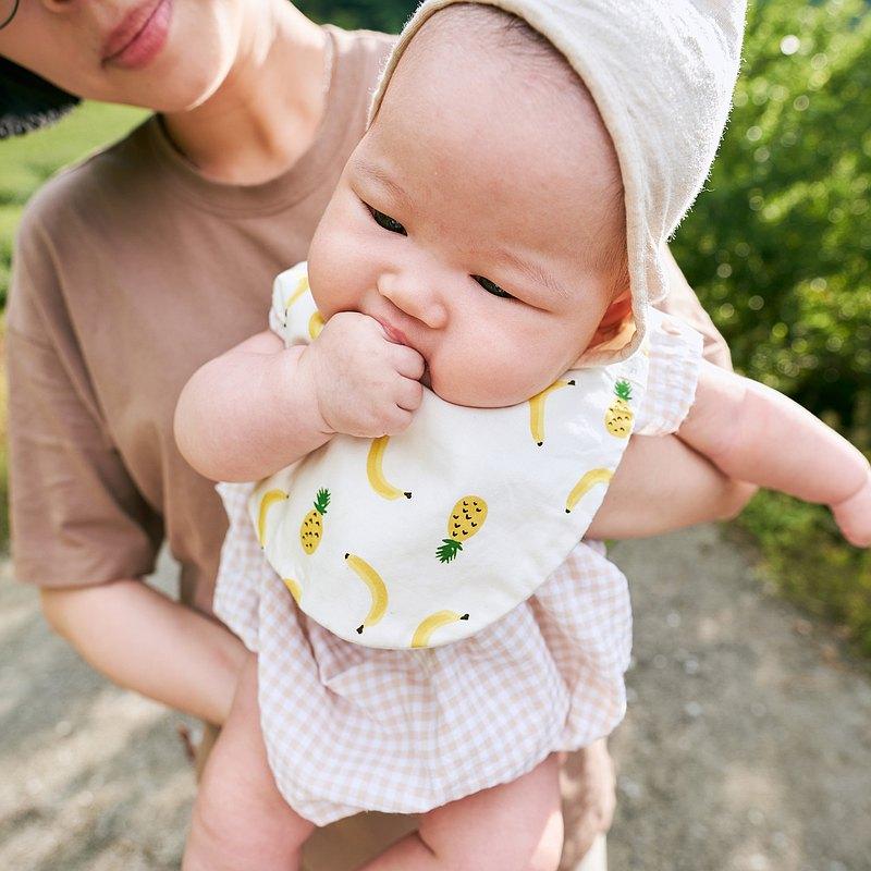 香蕉鳳梨 寶寶圍兜兜 方兜 口水巾