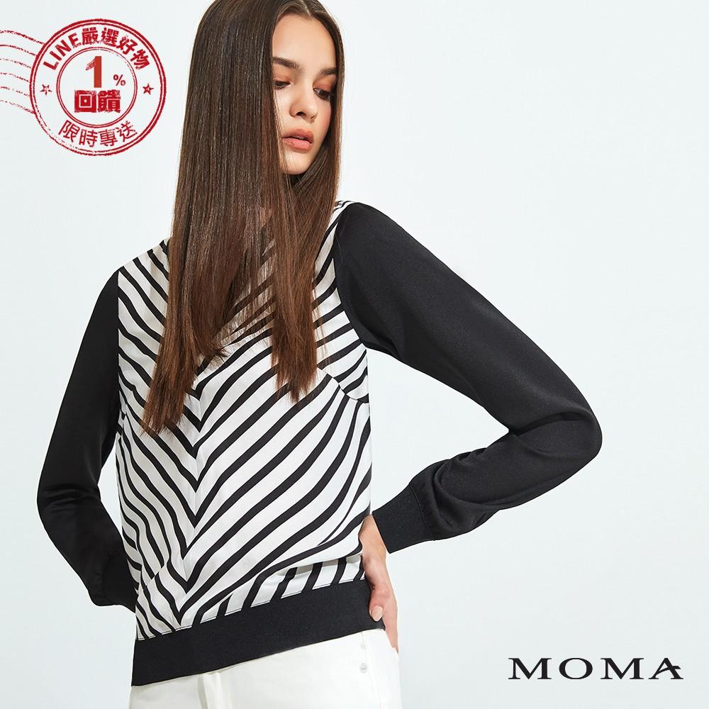 MOMA(92G063)V形黑白幾何平織上衣
