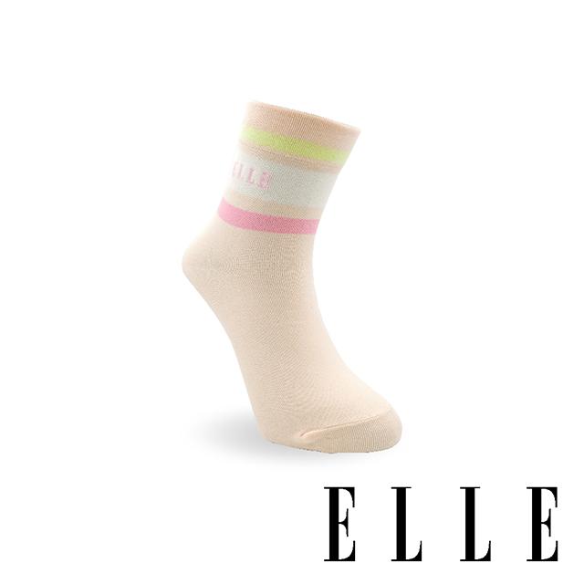 【ELLE】 1/2氣質條紋減壓短襪-淡橙