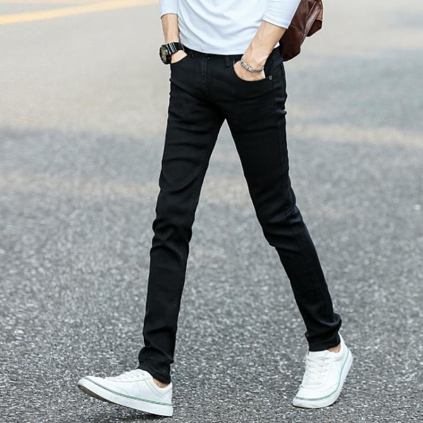 窄管褲夏季彈力黑色牛仔褲男士韓版修身小腳褲潮男裝春秋款休閒男褲子