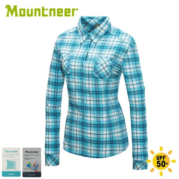 【Mountneer 山林 女 彈性抗UV格子長袖襯衫《海洋綠》】31B06/薄襯衫/防曬襯衫/悠遊山水