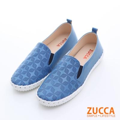 ZUCCA-菱格紋平底休閒鞋-藍-z6511be