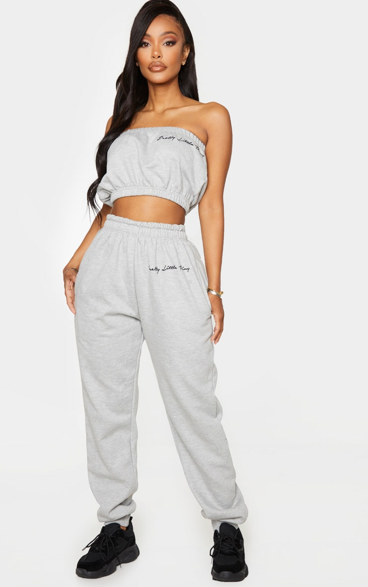 PRETTYLITTLETHING Shape Grey Embroidered Track Pants
