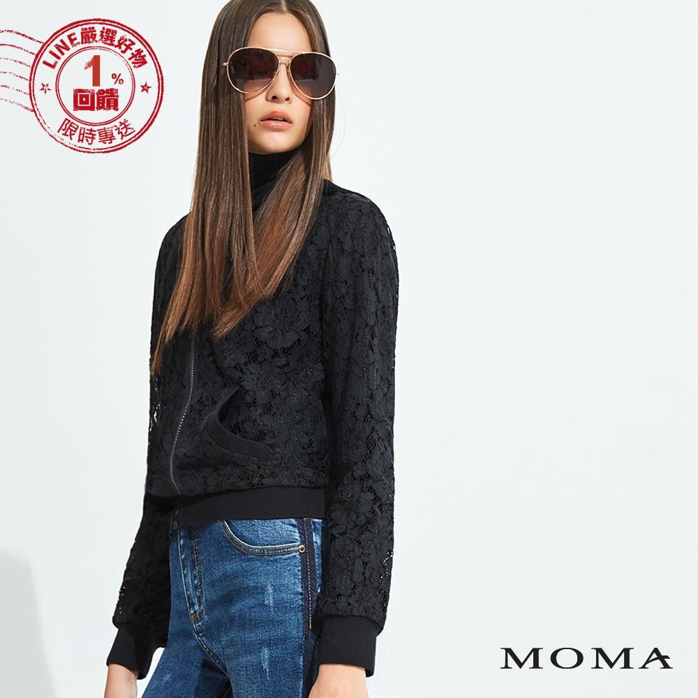 MOMA (92J043)蕾絲拉鍊外套