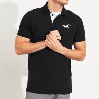 Hollister 經典刺繡大海鷗合身短袖Polo衫-黑色