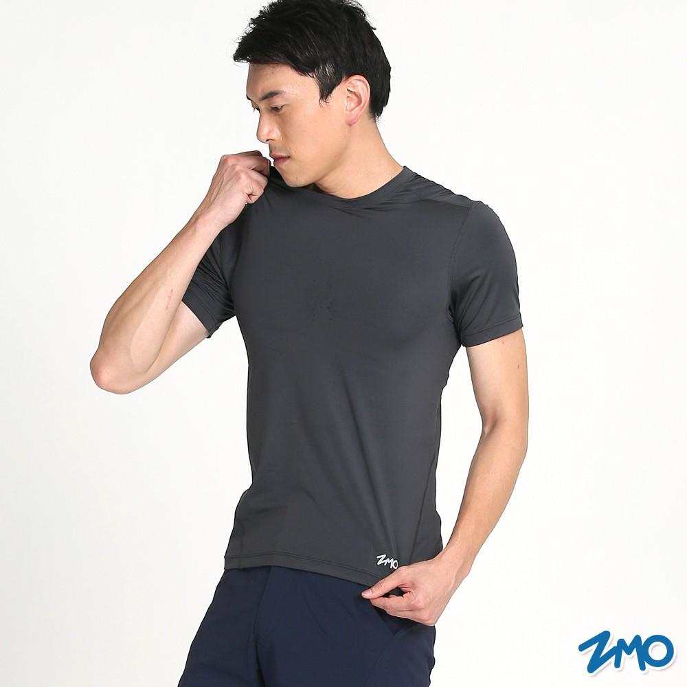 【ZMO】男運動排汗圓領短袖衫 - 深灰