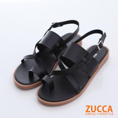 ZUCCA-皮革環交錯繞趾涼鞋-黑-z6602bk