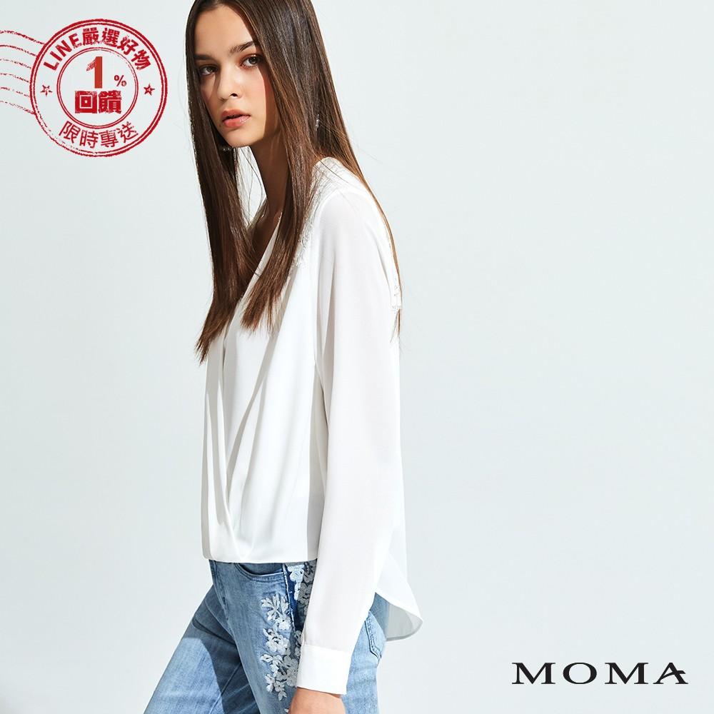 MOMA(92G043) 交叉領簡約上衣