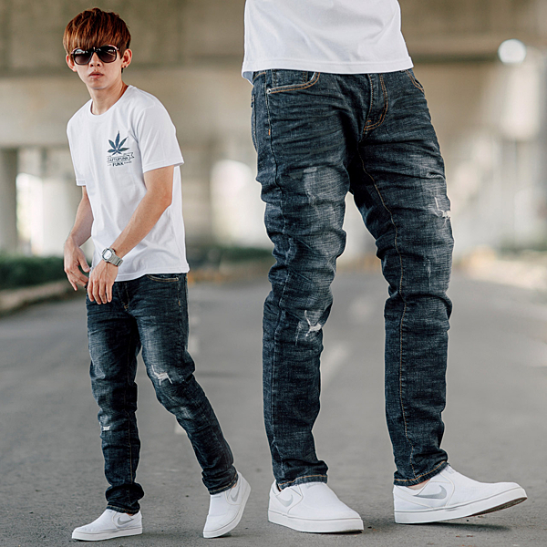 牛仔褲 韓國製深藍刷色小抓破小直筒牛仔褲【NB0830J】