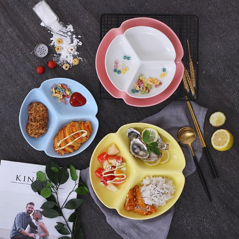 kkm701#日式餐具家用分格盤創意陶瓷分隔盤家用分菜盤三格分餐盤早餐碟子
