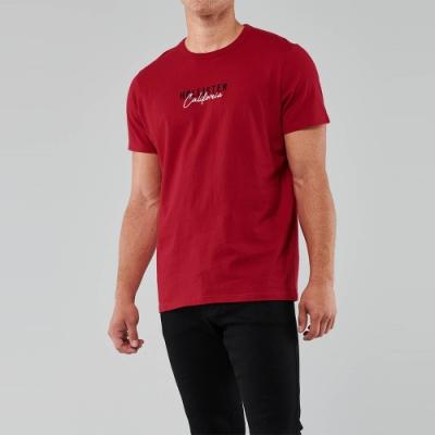 Hollister 經典刺繡文字短袖圖案T恤-紅色
