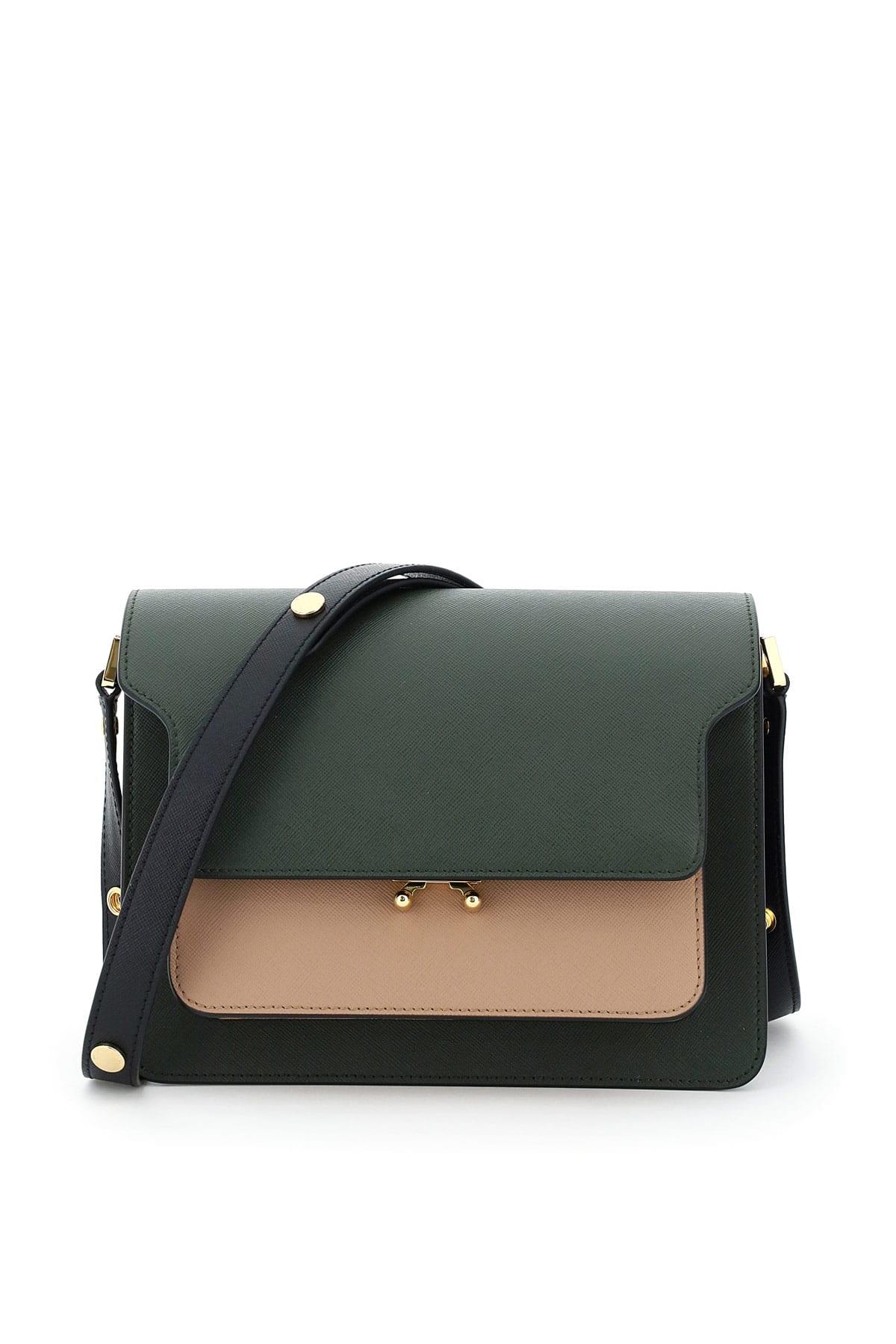 MARNI TRUNK BAG OS Green, Brown, Black Leather
