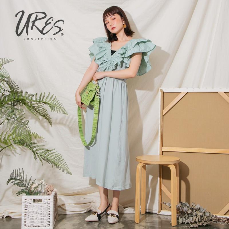 URES 大V領層次荷葉袖連身洋裝【881009919】