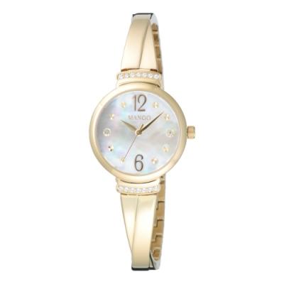MANGO 氣質優雅晶鑽貝殼面腕錶-金(MA6759L-GD)26mm