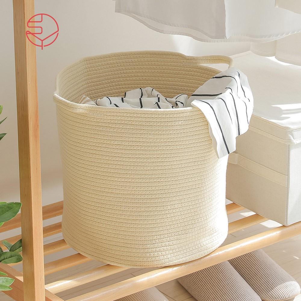 【日本霜山】亞麻風棉線編織圓形洗衣收納籃-附手把