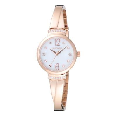 MANGO 氣質優雅晶鑽貝殼面腕錶-玫瑰金(MA6759L-RG)26mm