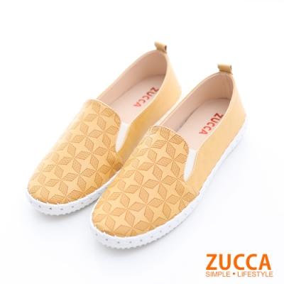 ZUCCA-菱格紋平底休閒鞋-黃-z6511yw