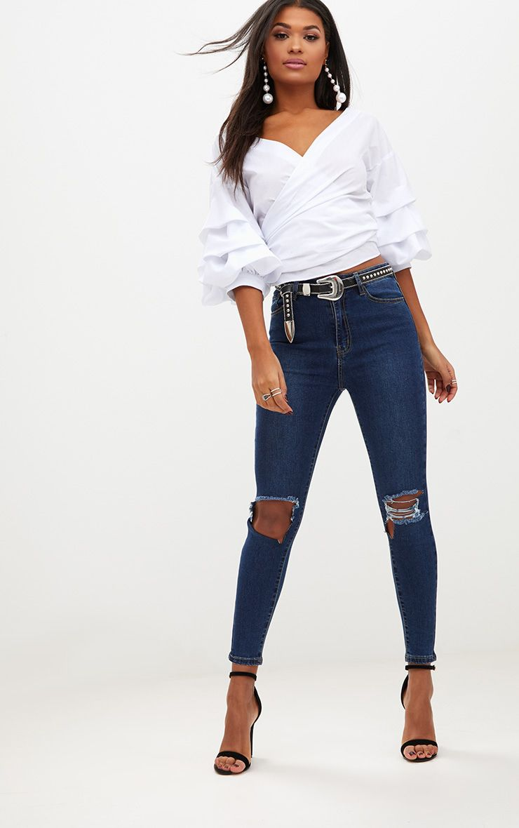 Open Knee Rip Dark Wash High Waisted Skinny Jean