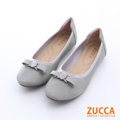 ZUCCA-圓頭金屬朵結氣墊平底鞋-灰-z6512gy