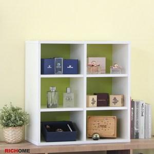 【RICHOME】CUBE 6格空櫃粉綠色