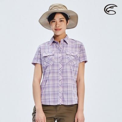 ADISI 女N66四面彈透氣速乾短袖格紋襯衫AL2011107 (S-2XL) 薰衣紫格紋