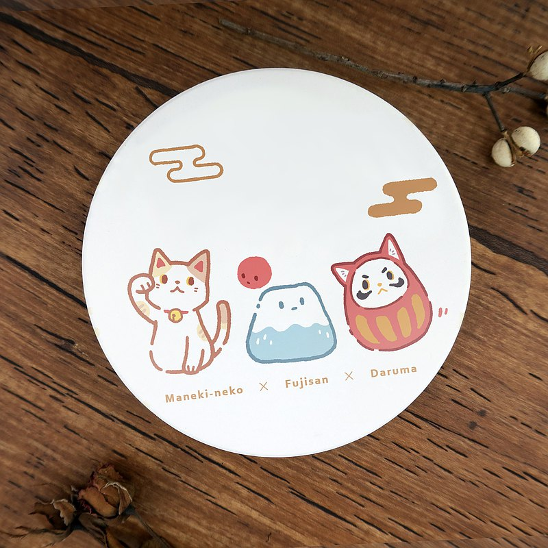 義賣//吸水陶瓷杯墊//日系吉祥物三人組 - 招財貓x富士山x達摩