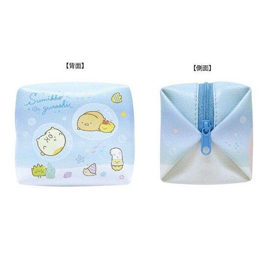 小禮堂 角落生物 迷你方形皮質化妝包 零錢包 小物包 (藍 海底)