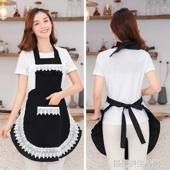 夏季韓版蕾絲圍裙裙子工作咖啡店廚房韓版時尚做飯女可愛日系家用