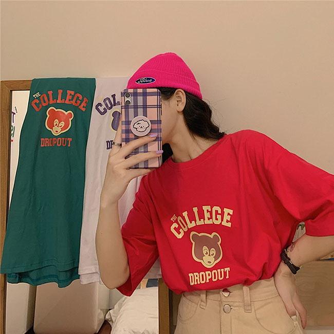 FOFU-短袖T恤學院寬鬆舒適套頭印花短袖T恤【08G-B3007】