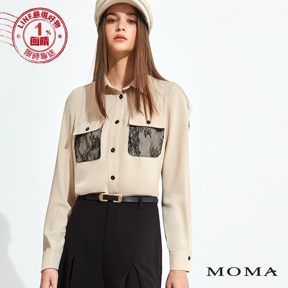 MOMA(92B009)蕾絲口袋雪紡襯衫