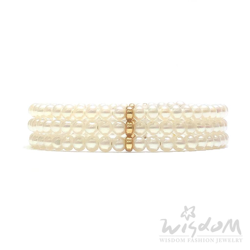 威世登 三串式天然珍珠手鐲 01GPE00001-AEHXX
