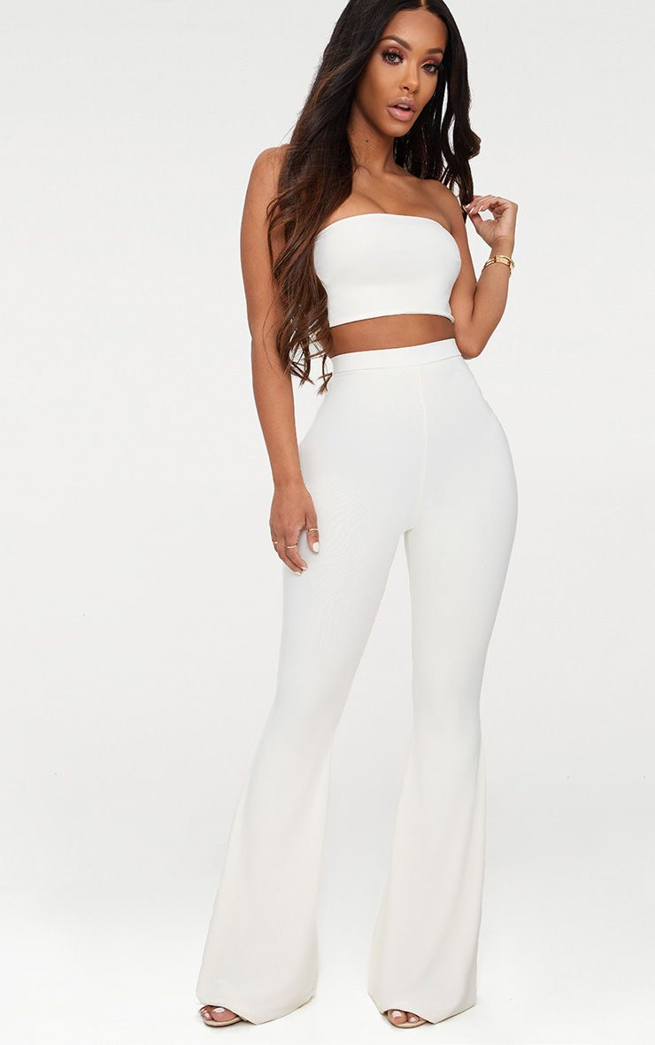 Shape White Slinky Flared Pants