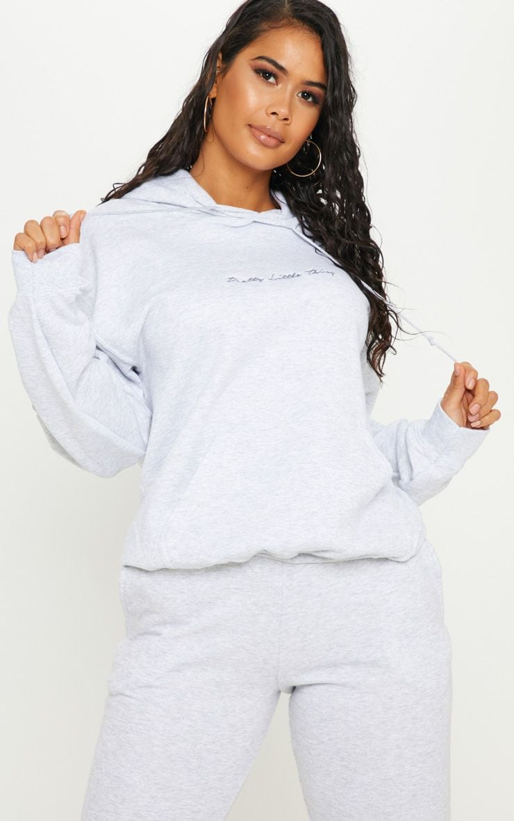 PRETTYLITTLETHING Ash Grey Embroidered Oversized Hoodie