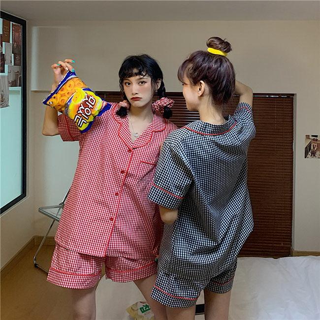 FOFU-家居服套裝小格子閨蜜短袖+短褲家居服套裝【08G-M1455】