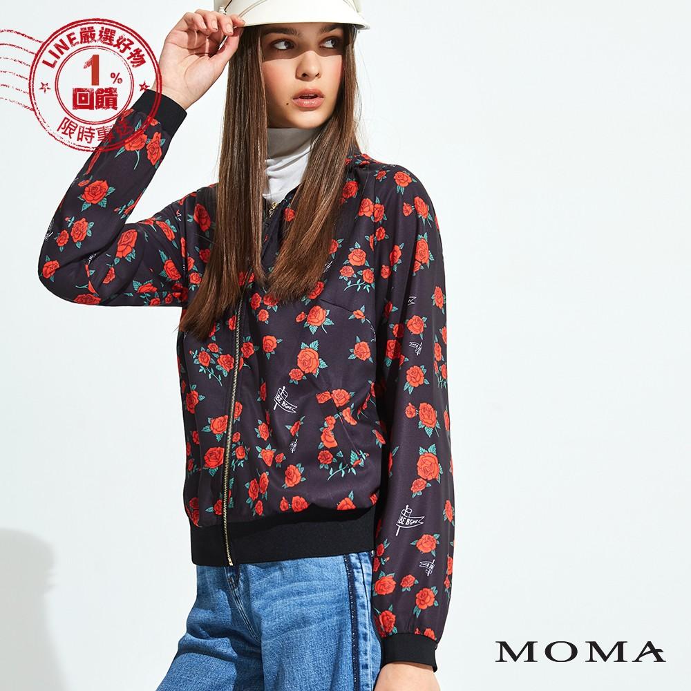 MOMA(92J049)玫瑰花雪紡拉鏈外套