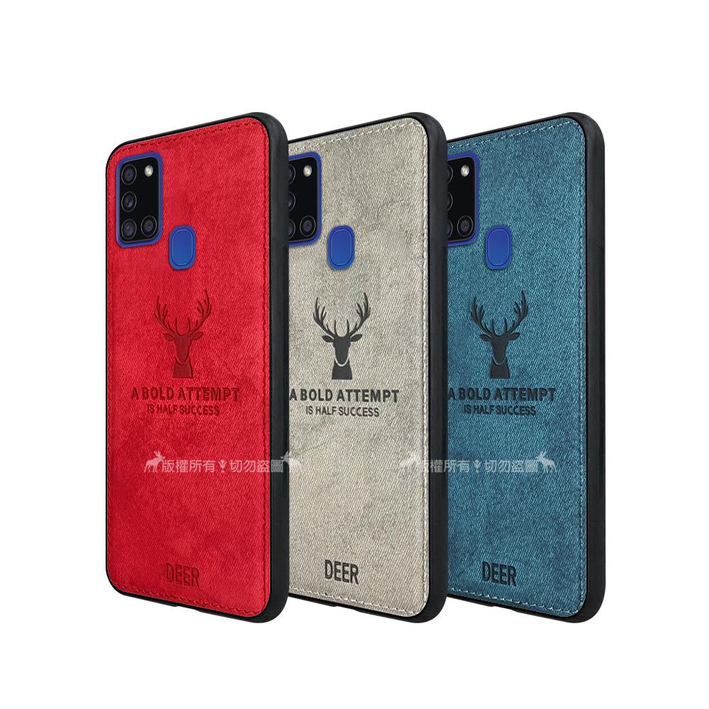DEER 三星 Samsung Galaxy A21s 北歐復古風 鹿紋手機殼 保護殼 有吊飾孔