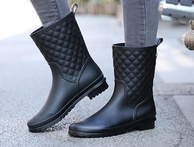 菱格優雅女增高半筒雨鞋 工作鞋 防水 耐磨 -黑色40