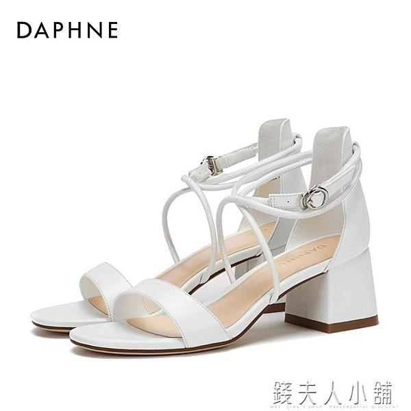 Daphne/達芙妮夏新款腳環綁帶一字扣時尚粗高跟涼鞋女1018303045