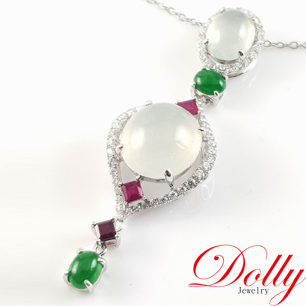 Dolly 緬甸 冰種白翡 14K金鑽石項鍊