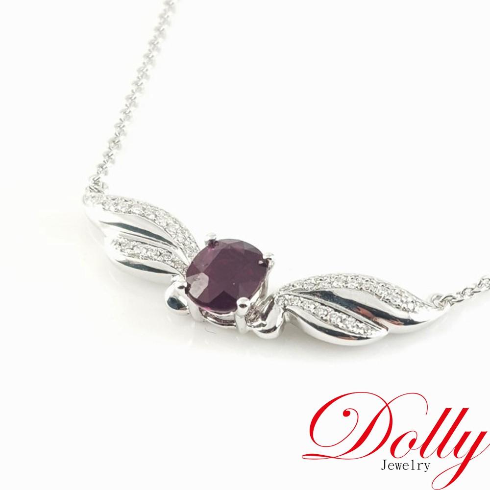 Dolly 緬甸無燒 紅寶石1克拉 14K金鑽石項鍊(023)