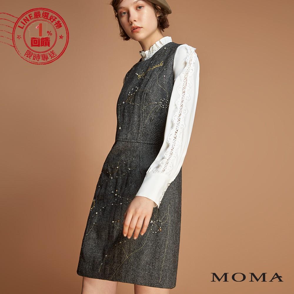 MOMA(92D009)電繡星宿毛呢背心洋裝