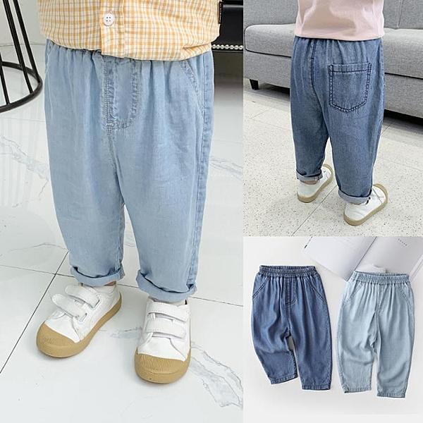 嬰兒天絲棉牛仔褲防蚊褲子夏裝男童裝1歲3小童寶寶洋氣薄款X1774 快速出貨