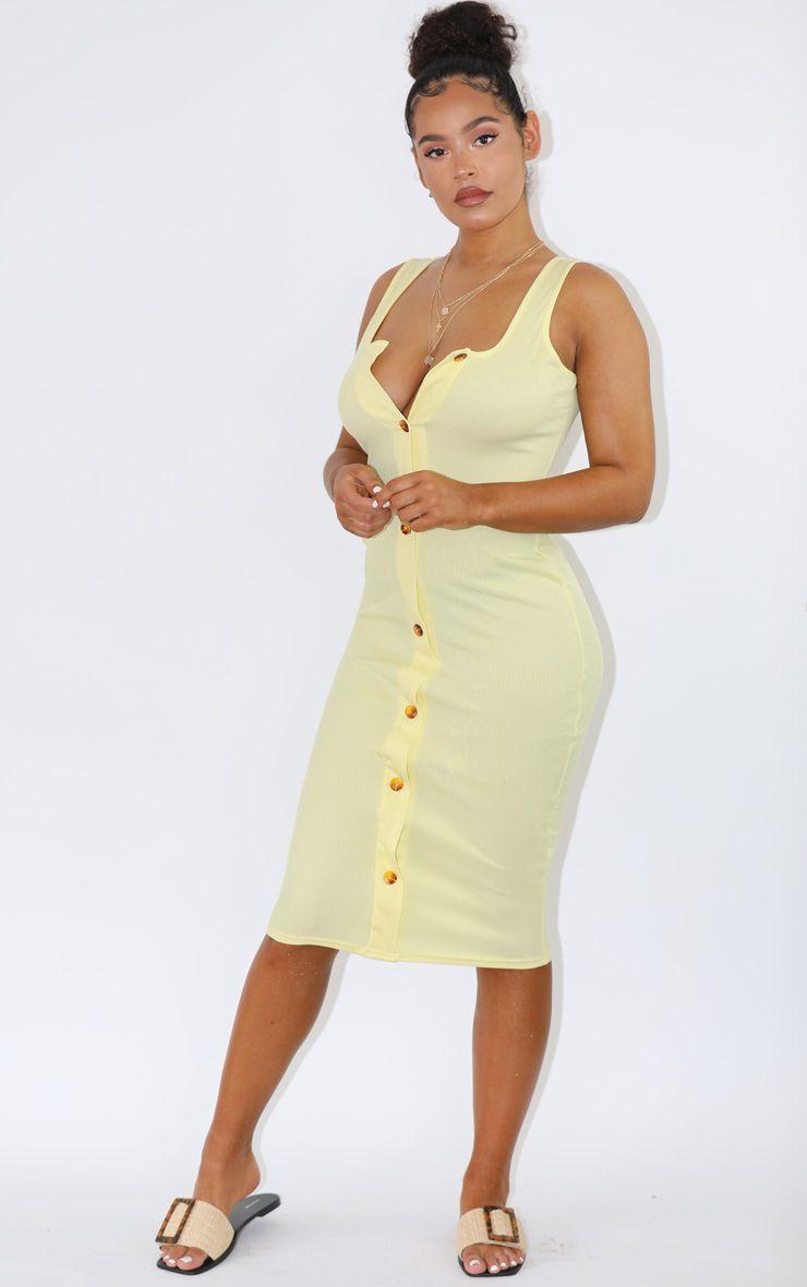 Pastel Lemon Ribbed Button Detail Midi Dress